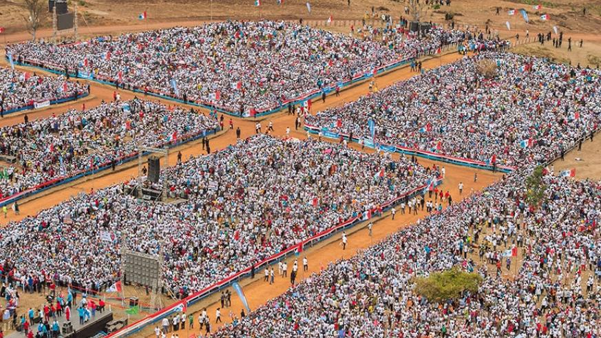 Part of the crowd that attended incumbent President Kagame's final campaign rally at Bumbogo in Gasabo District on the outskirts of the capital Kigali on August 2. The RPF Chairman....