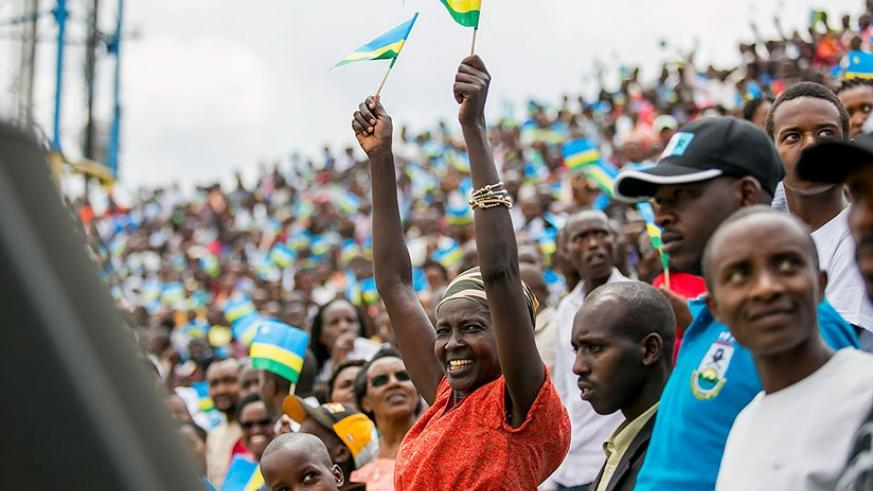 A woman cheers during Kagame's inauguration at Amahoro National Stadium in Kigali on Friday. Courtesy.
