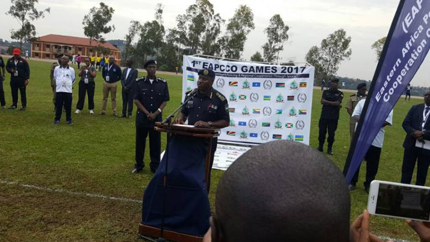 IGP Emmanuel K Gasana speaking at the launch of the EAPCCO Games. / Courtesy