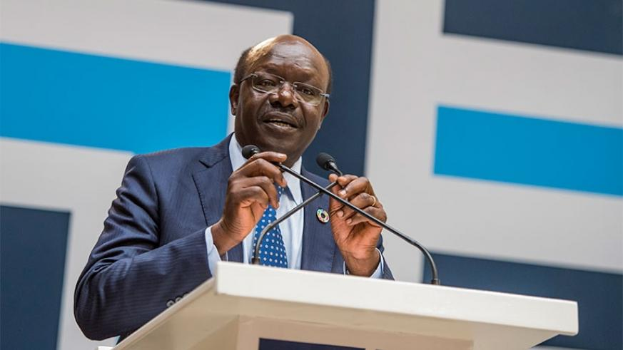 Dr Kituyi addresses the  Annual World Trade Tourism conference in Kigali. Courtesy.