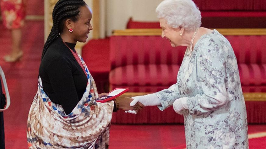 Yvette Ishimwe meets Queen Elizabeth. Left: Ishimwe's project offers authentic innovative solutions to water scarcity. Courtesy photos