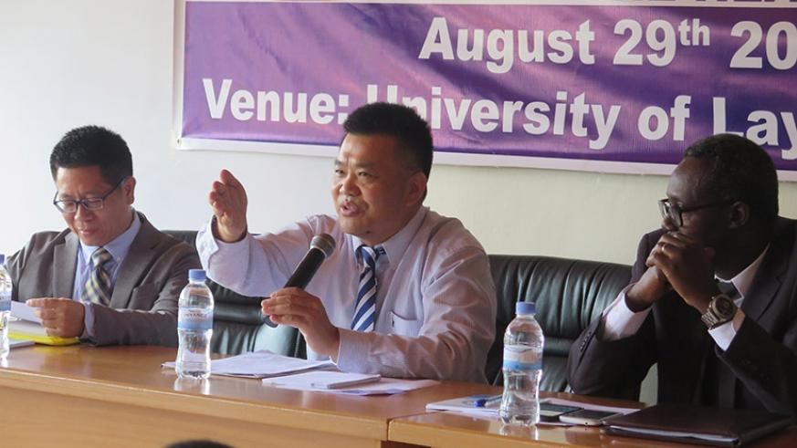 Dr Li Zhanbin, the Vice Chancellor of Chinese Academy of Sciences speaking at the symposium-Eddie Nsabimana