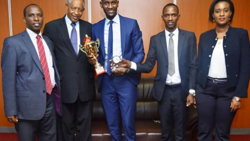 Kigali Independent University law students who won the first international humanitarian law moot court.  / Francis Byaruhanga.