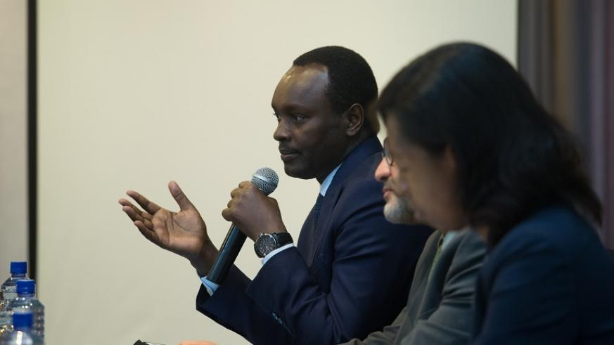 Emmanuel Hategeka COO RDB speaks during the meeting. Timothy Kisambira (1)