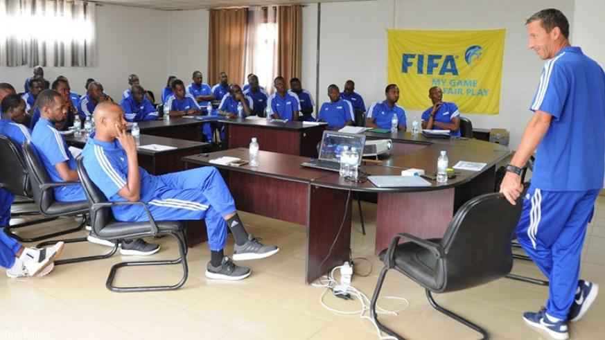 FIFA Instructor Pierre Barrieu seen here conducting the course at Ferwafa headquarters in Remera. Courtesy.
