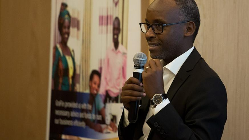 Bugabo speaks to manufacturers at Marriot Hotel in Kigali last week. T. Kisambira..