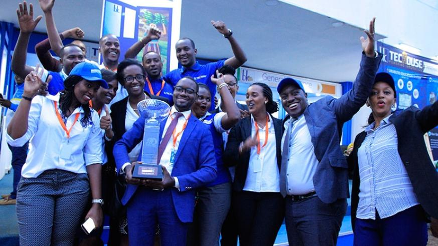 Bank of Kigali chief executive Diane Karusisi joined the staff to celebrate topping the 2017 Rwanda International Trade Fair in Kigali yesterday. Bank of Kigali emerged the Best ov....