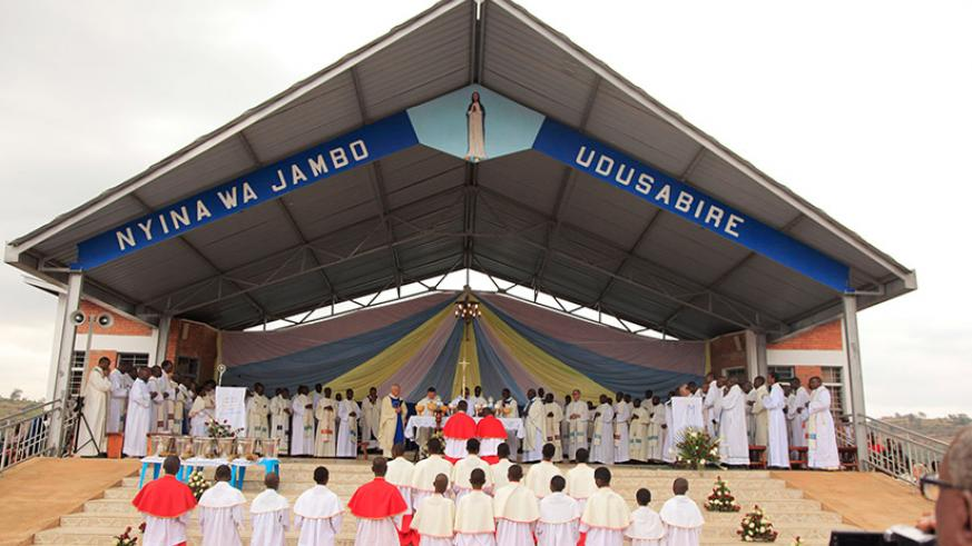 Catholic clerics from different countries leading prayers during the Assumption Day Mass at Kibeho Holy Land. The Rwanda Development Board says it is working on plans to make Kibeh....