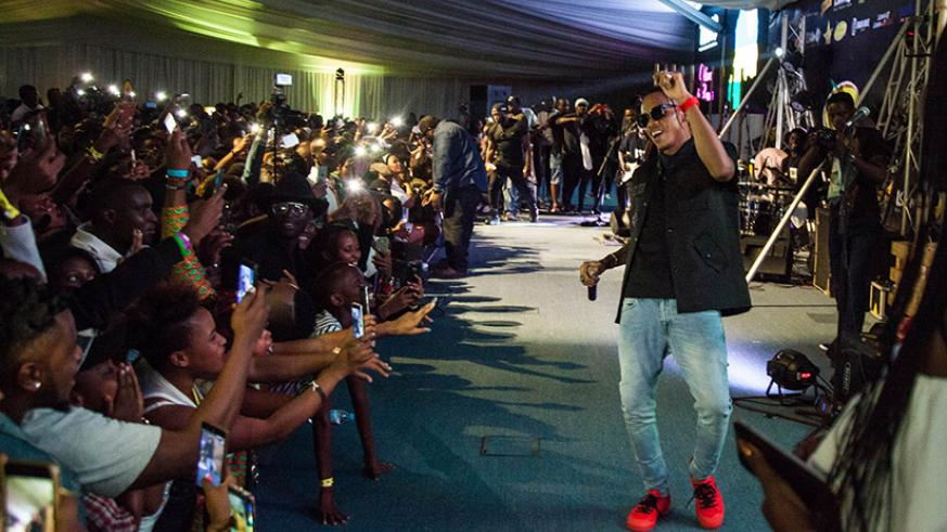 Tekno Miles slim's performance got the audience in the Akagera Hall on its feet. / Nadege Imbabazi