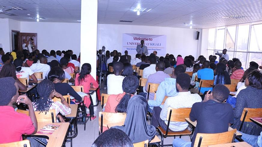 Students of University of Kigali attend an orientation session. (Lydia Atieno)