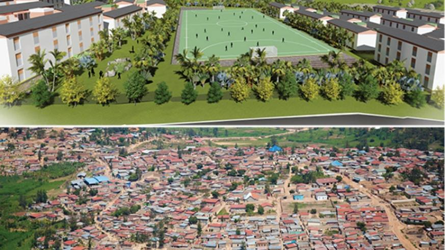 An artistic impression of the newly planned settlement in Busanza (top) in Kanombe Sector, Kicukiro District where the people who will be relocated from Kangondo neighborhood (bott....