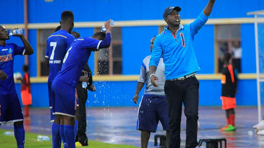 Rayon Sports head coach Olivier Karekezi, during the game against Police FC, he says he won't be emotional when he faces his former club, APR FC on Saturday. / Sam Ngendahimana