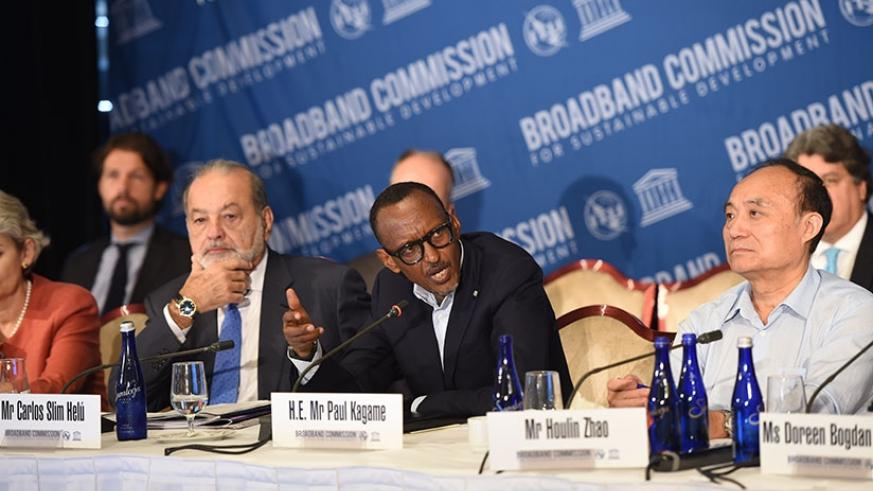 President Kagame (C) co-chairing the Broadband Commission for Sustainable Development, yesterday, at Yale Club in New York, US. Left is Carlos Slim Helu, co-chair of the Commission....