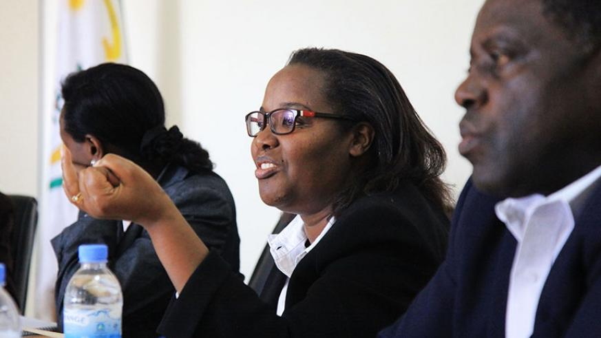 The Minister for Agriculture and Animal Resources, Gerardine Mukeshimana, addresses members of the parliamentary Standing Committee on Agriculture, Livestock and Environment during....