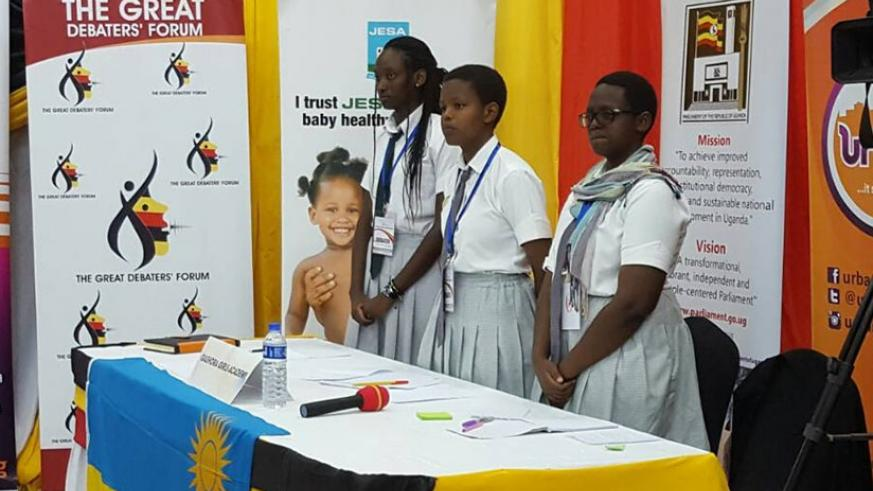 The Gashora girls team during the debate. / Courtesy photos