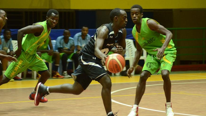Aristide Mugabe (with the ball) during a regular season league game against UGB, will lead Patriots in their search for a first regional title. (Sam Ngendahimana)