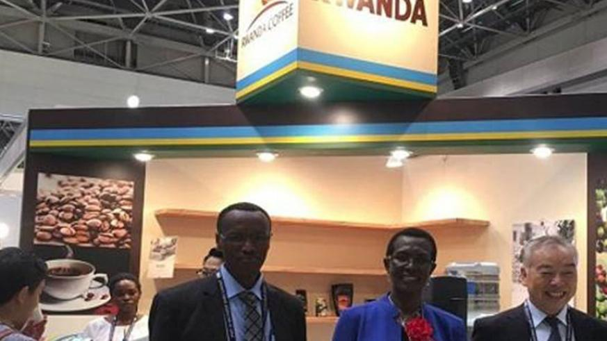 Gatarayiha (third, right) says the expo presents the country huge opportunities to expand its specialty coffee market.  / Courtesy.