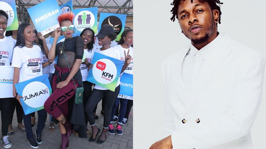 LEFT: Ugandan artiste Sheebah Karungi (C) poses for a photograph as she is received at Kigali International Airport on Thursday. / Courtesy | RIGHT: Nigerian star Runtown is set to....