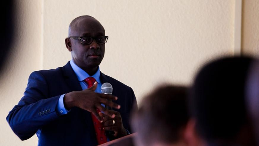 The Minister for Justice and Attorney General, Johnston Busingye speaks during the meeting in Kigali, yesterday. / Timothy Kisambira