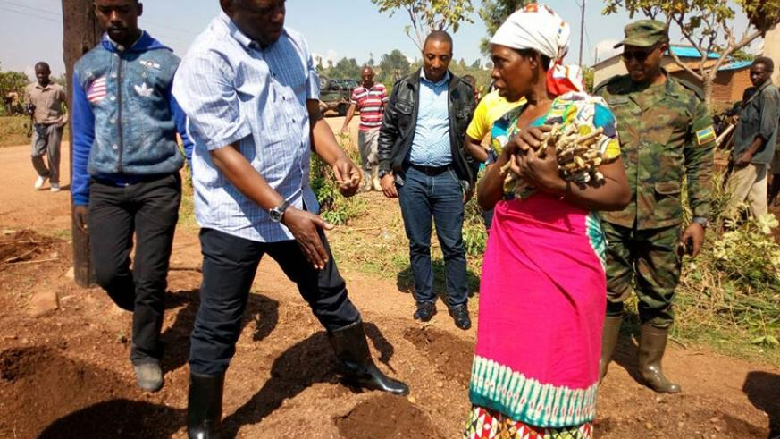 Nsengiyumva shows farmers how to plant cassava stem cuttings at the launch of Season A. The Minister said the cuttings should  be planted horizontally, not vertically, for better r....