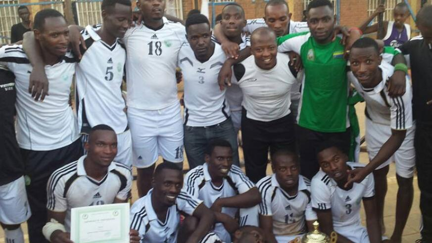 APR players pose for a photo after winning the national handball league title for 2017. (File)
