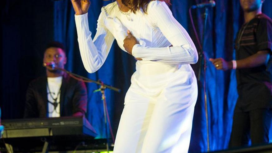 Nigerian singer and songwriter Seyi Shay performs during the Jazz Junction in Kigali. / Timothy Kisambira