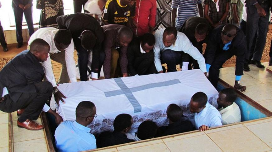 A total of 547 victims of  Genocide were buried at Nyanza Genocide memorial yesterday. James Habimana.