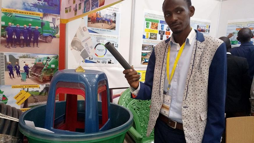 Furaha speaks about how Agruni Company Ltd recycles plastic wastes to make valuable products. / Emmanuel Ntirenganya