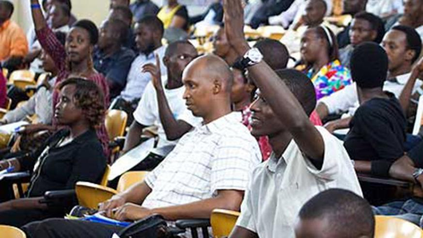 Students of former Kigali Institute of Technology during a public lecture. File.