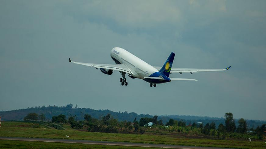 A RwandAir plane takes off at KIA. COMESA is pushing for open skies to promote connectivity.
