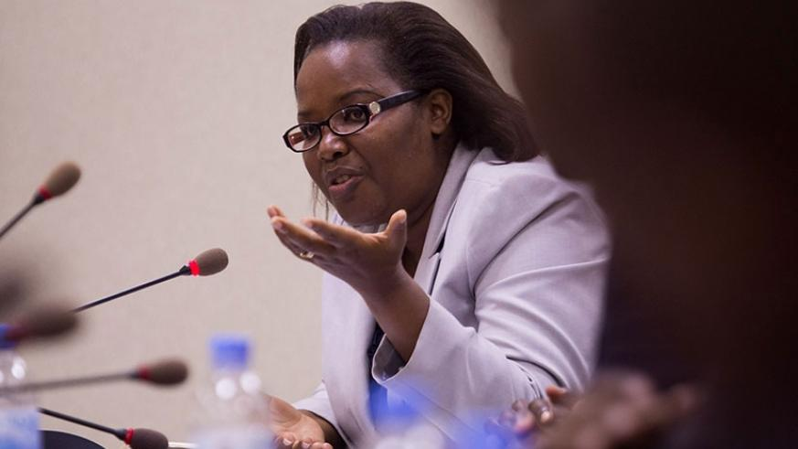 Minister Mukeshimana speaks during a past meeting at Parliament. (Timothy Kisambira)