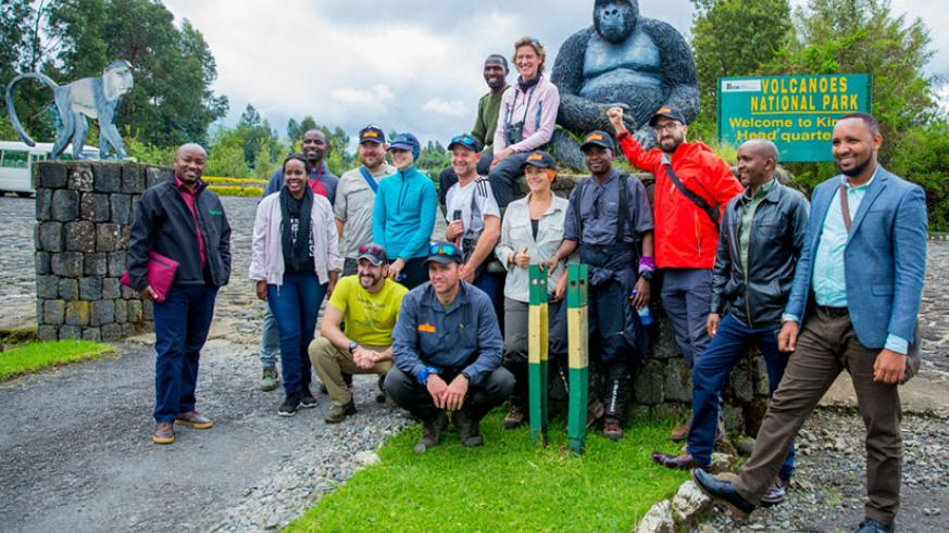 The team of mountaineers at Volcanoes National Park in Kinigi before embarking on the expedition. / Courtesy