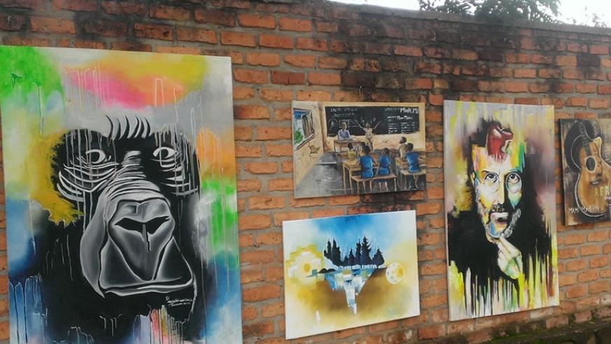 Some of the paintings which had to be pulled down due to a heavy downpour