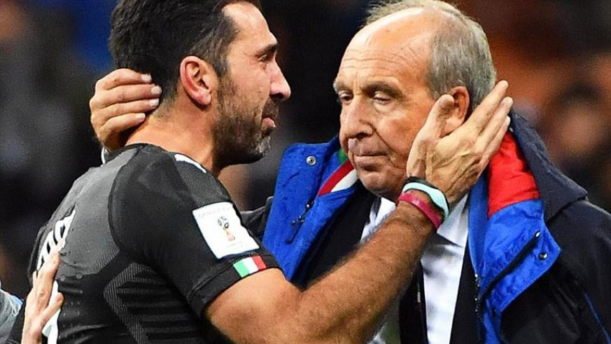 Buffon and Gian Piero Ventura console each other as they come to terms with missing out on the 2018 World Cup. (Courtesy)