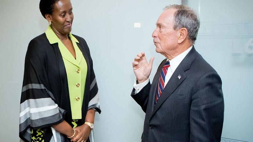 First Lady and Chairperson of Imbuto Foundation, Mrs Jeannette Kagame and Bloomberg Philathropies Founder, Michael Bloomberg at the Bloomberg Philanthropies Board Meeting, which wa....