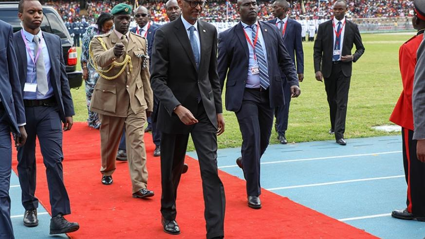 President Paul Kagame on arrival at a fully-packed Moi International Sports Centre, Kasarani in the Kenyan capital of Nairobi for the inauguration of Kenya's president, Uhuru Kenya....