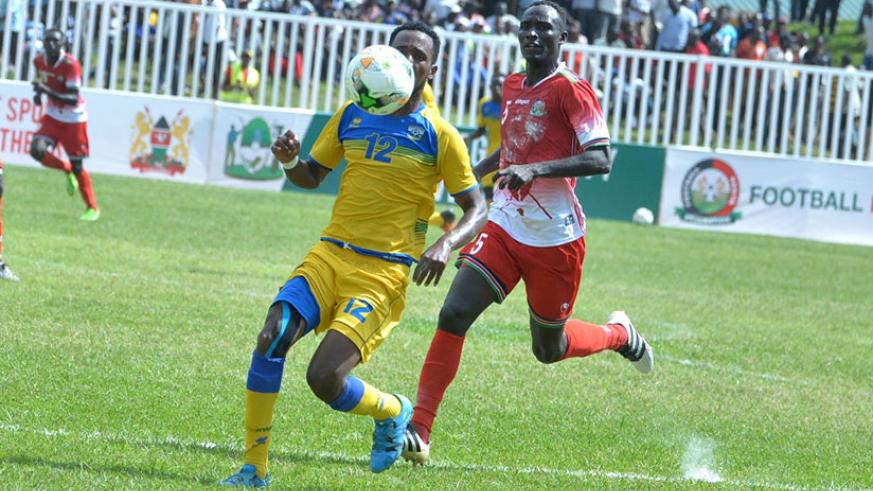Justin Mico led Amavubi's attacking line but with little success in the 2-0 defeat against Kenya on Sunday. Rwanda face Zanzibar in the second Group A match on Tuesday. / Courtesy