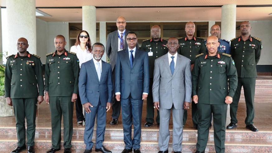The visiting UN delegation in a group photo with Kabarebe, Gen Nyamvumba and other senior RDF officers shortly after their meeting in Kigali yesterday. / Courtesy