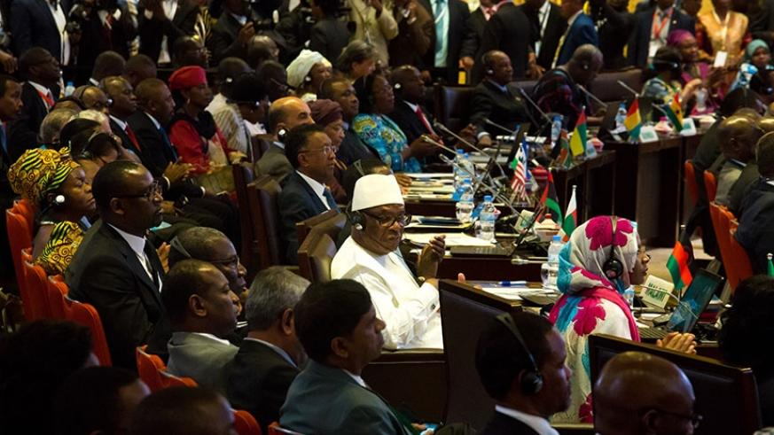Delegates during the 27th African Union Summit in Kigali in July 2016. File.