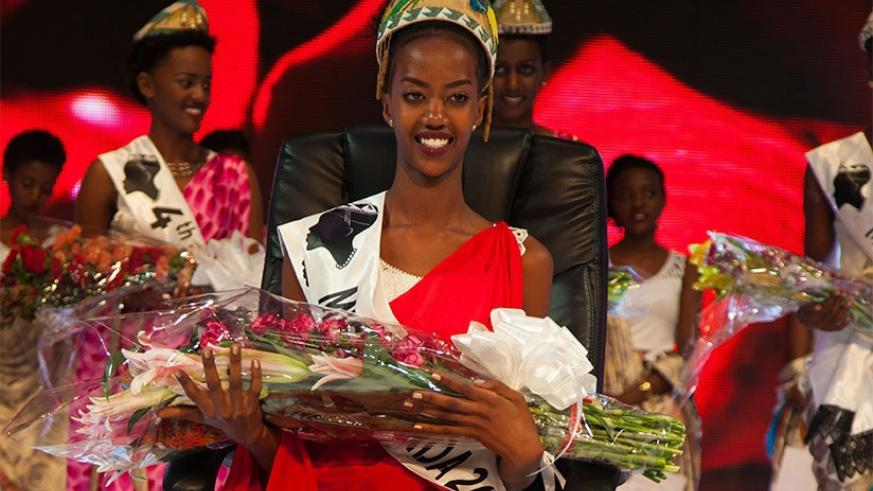 Reigning Miss Rwanda Elsa Iradukunda the night she was crowned in February last year.