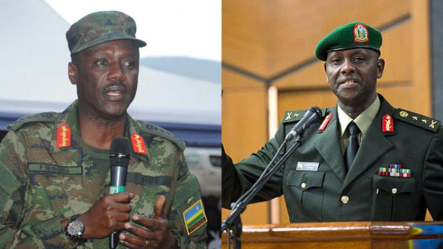 Fred Ibingira (L), the Chief of Staff, Reserve Force, is now a General, while Jacques Musemakweli (R), the Chief of Staff, Land Forces, has been promoted to the rank of Lieutenant ....