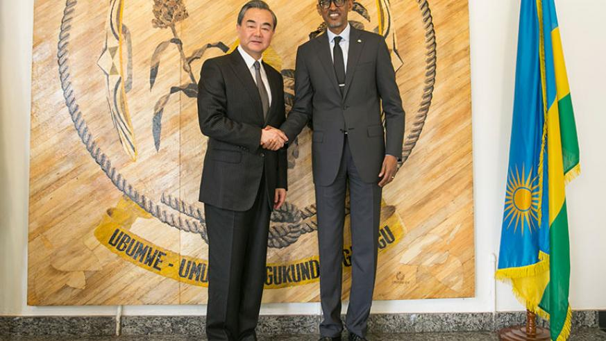 President Paul Kagame yesterday held talks with Hon. Wang Yi, Minister of Foreign Affairs of the People's Republic of China at Village Urugwiro. The Chinese foreign affairs ministe....