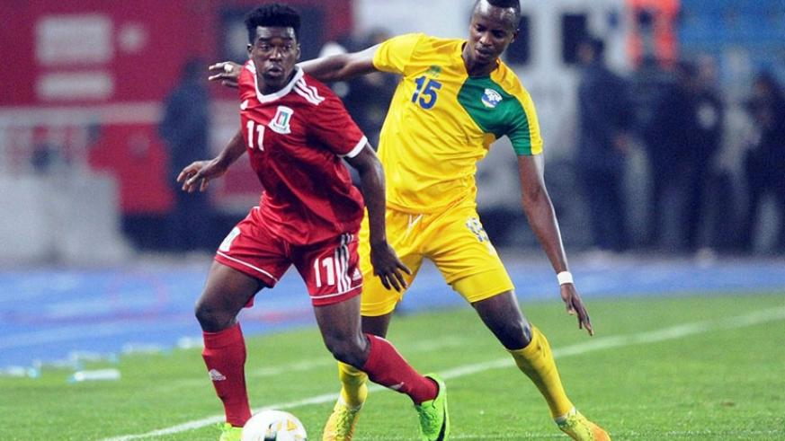 Faustin Usengimana (right) and Thierry Manzi (not in picture) marshalled Amavubi defence quite impressively. / Courtesy.