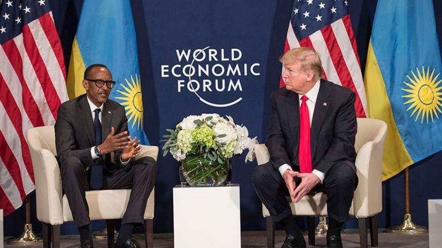 President Kagame and US President Donald Trump during their meeting on the sidelines of the World Economic Forum in Davos, yesterday. (Photos by Village Urugwiro)