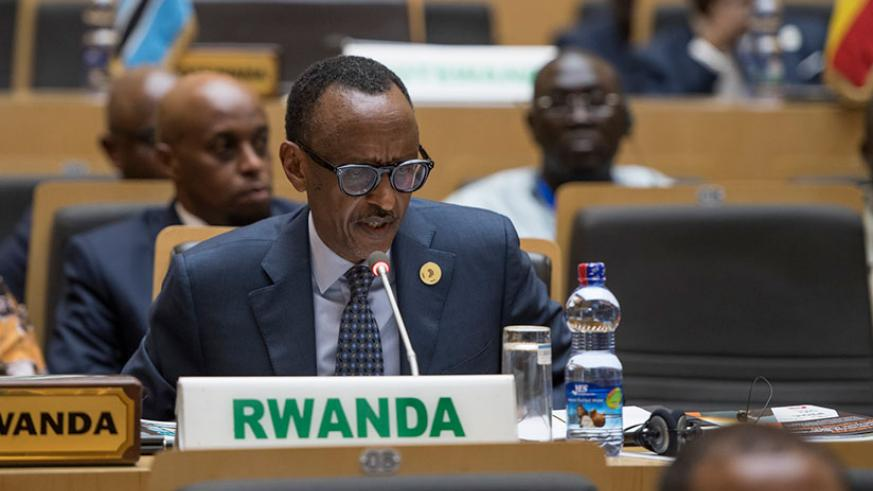 President Kagame speaks during the NEPAD Heads of State and Government Orientation Committee yesterday in Addis Ababa, Ethiopia. Kagame also attended the Peace and Security Council....
