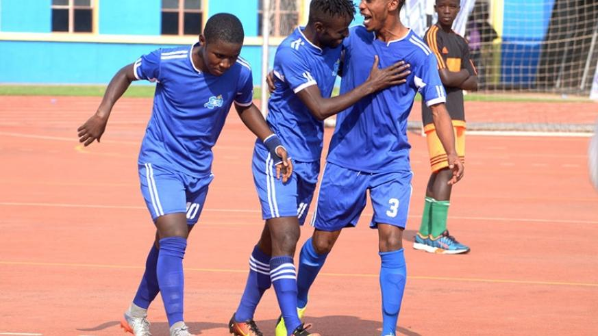 New signing Hussein Shaban (middle) put Rayon Sports in the lead after just four minutes with a powerful header during their Heroes cup clash with APR on Thursday. Courtesy.