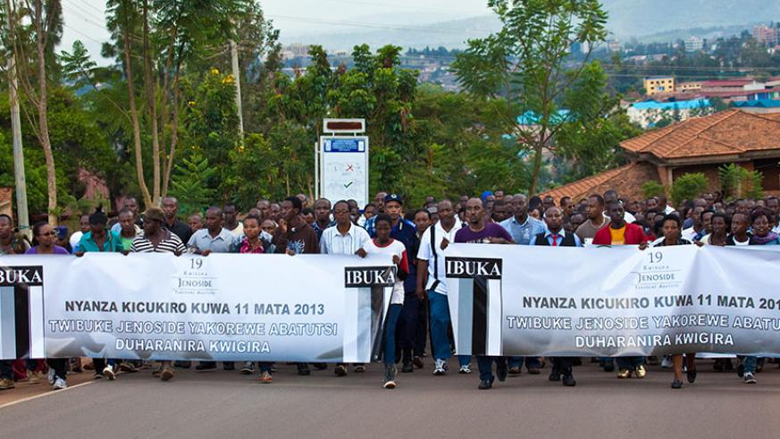 Residents of Kicukiro District during a walk to remember the victims of the 1994 Genocide against the Tutsi. / File