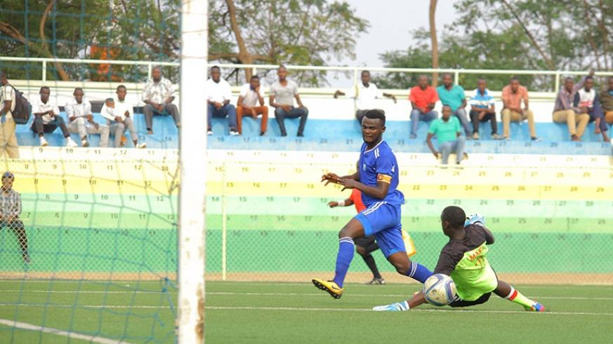 Rayon's attacking midfielder Djabel Manishimwe netted a hat-trick against second division side Aspor FC. Peter Kamasa.