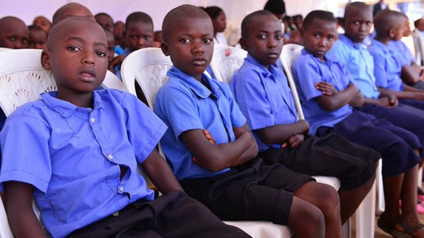 Pupils of Kagorogoro Primary School in Gicumbi District during the official launch of the education quality enhancement awareness campaign yesterday. Courtsey.