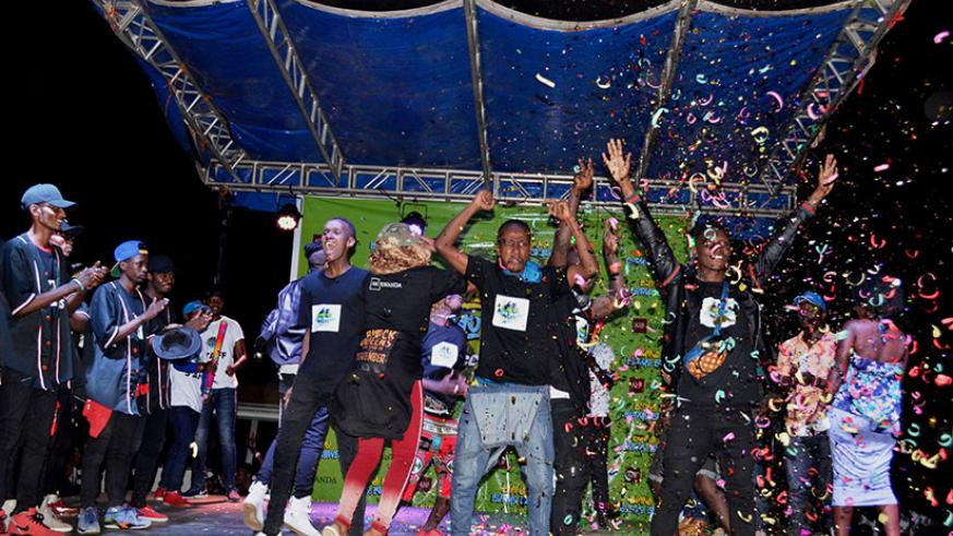 The Finest Dance Crew celebrate after being announced winners of the dance competition. All photos by Eddie Nsabimana